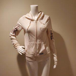 Victoria's Secret Pink Cream Logo Zip Up Hoodie XS
